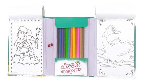livro superkit de colorir clássicos c/12 lápis de cor