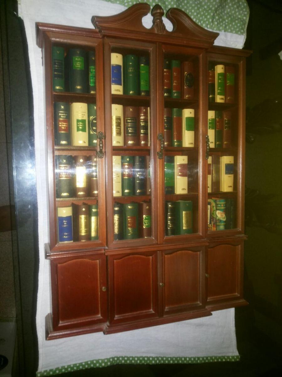 Livros Clássicos Em Miniaturas Com Estante Madeira 50
