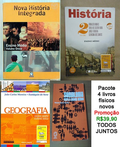 livros físicos pacote 4 - hist+hist2+geo+sociologia