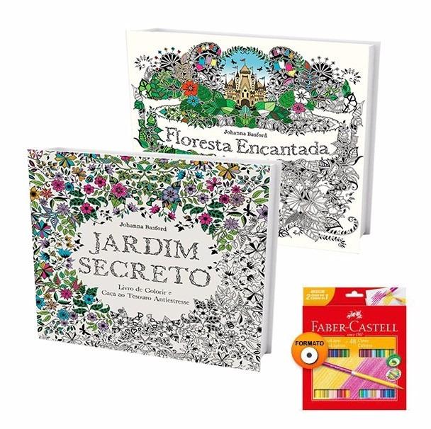 Livros Jardim Secreto E Floresta Encantada Lapis 48 Cores