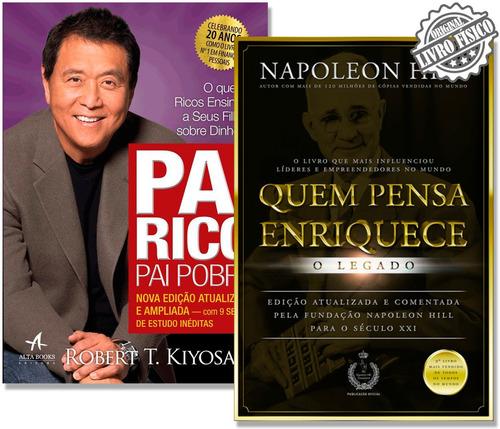 livros quem pensa enriquece + pai rico pai pobre - promoção
