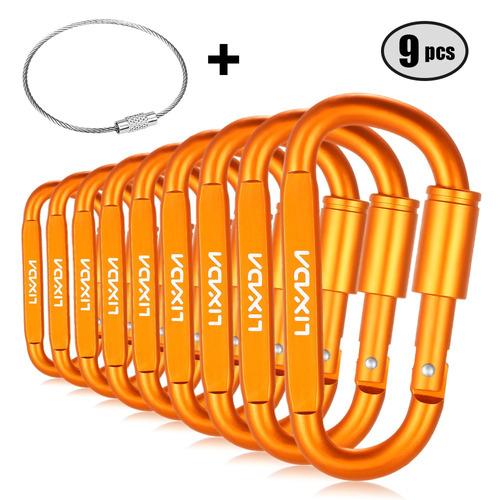 lixada 9 paquete aluminio aleación d -ring bloqueo mosquetón