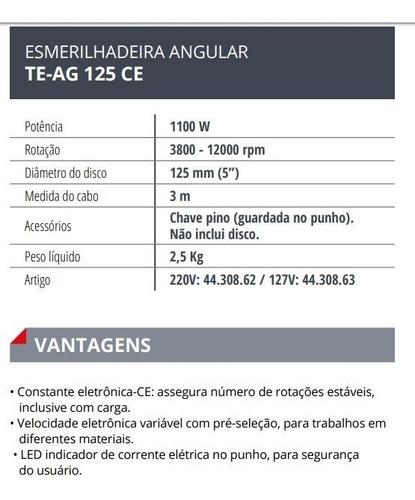 lixadeira esmerilhadeira angular einhell teag 125ce 1100w 5'