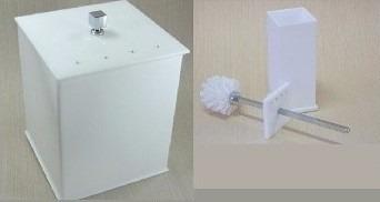 lixeira 05 l + escova vaso sanitário acrílico branca strass