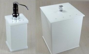 lixeira 05 l + porta sabonete acrílico branco cristal strass