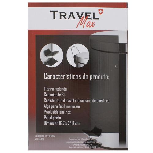 lixeira 3l de aço inox - travel max