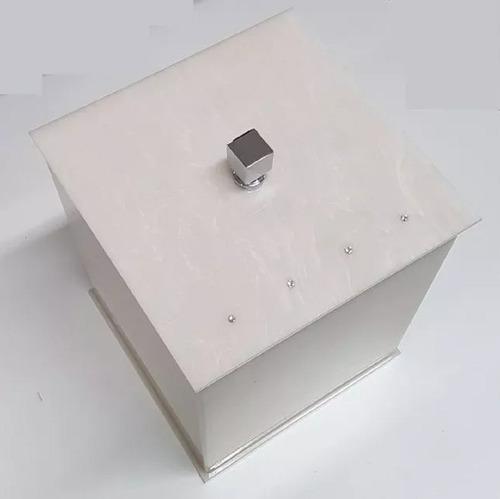lixeira acrílico quadrada travertino lavabo banheiro strass