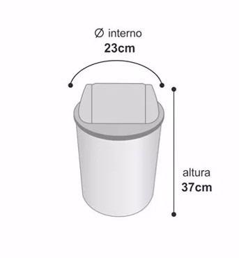 lixeira basculante plastico cilindrica 15 litros vermelha