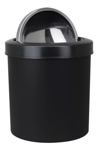 lixeira p/ escritorio plastica preta 5 litros tampa em inox