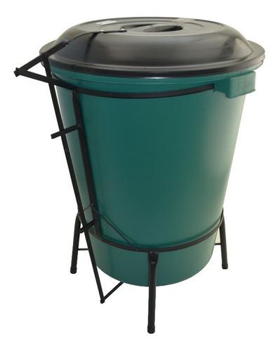 lixeira plástica em suporte de ferro com pedal 50 litros