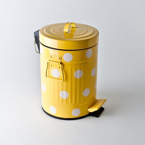 lixeira retro vintage 3 litro amarela verde bolinhas cozinha