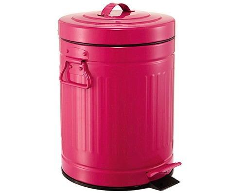 lixeira retro vintage 3 litros preta rosa cozinha pia mesa