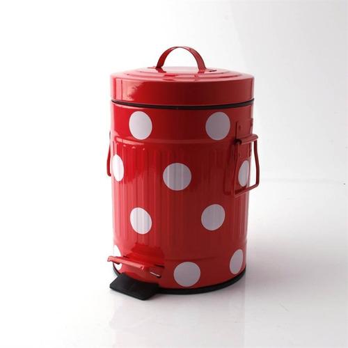 lixeira retro vintage 5 litros vermelha de bolinhas cozinha