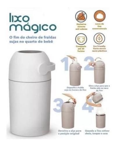 lixo magico 20 fraldas lixeira com sistema anti odor kababy.