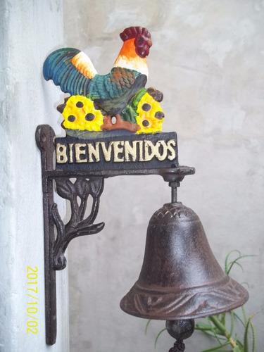 llamador campana  bienvenido en hierro   - jardin agus -