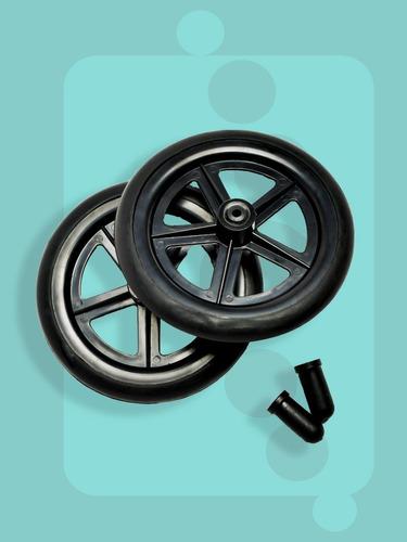 llanta de goma con rin plástico de 8  p/ silla de ruedas