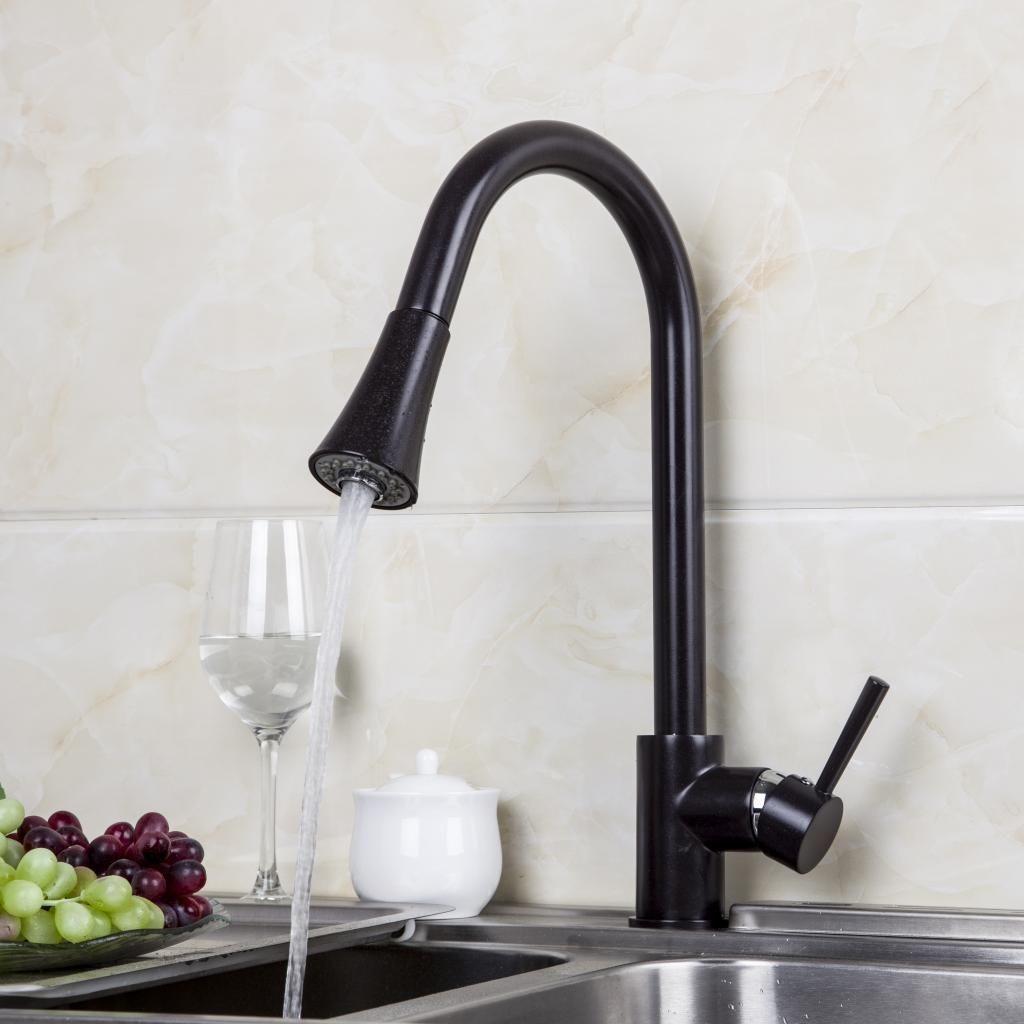 Llave cocina fregadero grifo extraible aceitado negro for Llaves para cocina