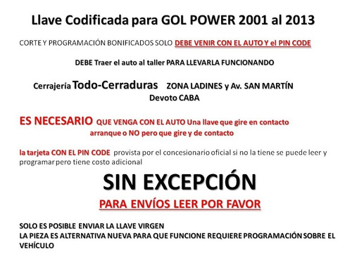 llave  codificada gol power 2001  hasta 2013
