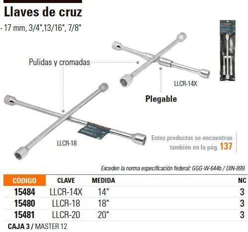 llave cruz universal 18  truper 15480