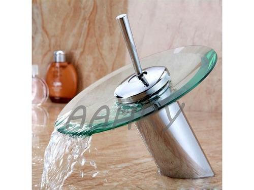 Llave de ba o de cristal plato redondo en for Llaves de agua para bano