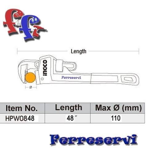 llave de caño tubo stilson ingco 48'' industrial hpw0848 ff