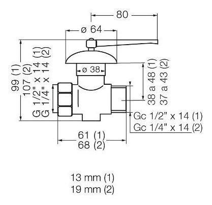 llave de gas con campana de 13mm (1/2 ) 822.01 cromo fv