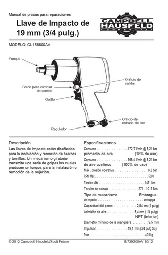 llave de impacto 3/4  neumática campbell hausfeld cl1586