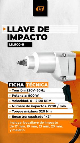 llave de impacto 900w encastre 1/2 lusqtoff 320nm + tubos