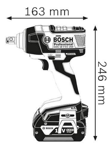 llave de impacto bosch gds 18 v-ec 250 2 bat 3.0ah li 18v