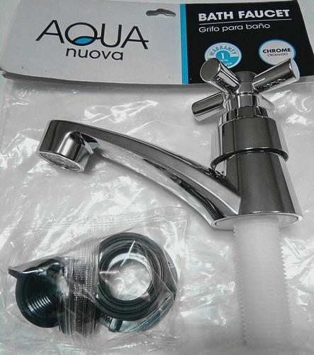 llave de lavamanos individual plastico cromado aqua nuova