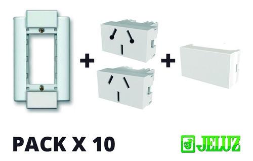 llave de luz armada jeluz verona 2 toma completo x pack 10 u