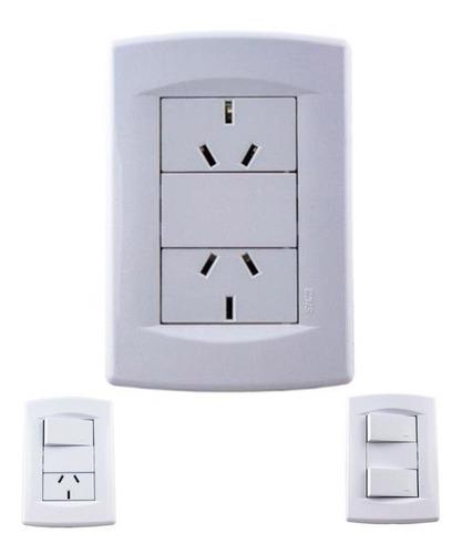 llave de luz sica life completa con 2 toma x 10u