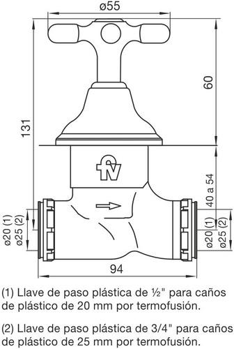 llave de paso para caño de 20mm 489.03/b2p20 newport cr fv