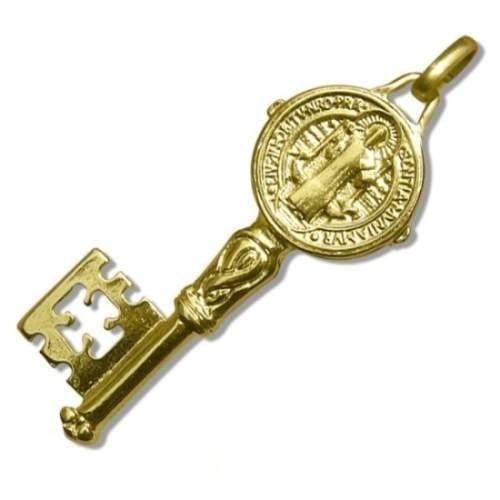 llave de san benito en 7 metales virgenes acabado chapa oro