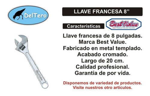 llave francesa profesional 8  best value acero templado