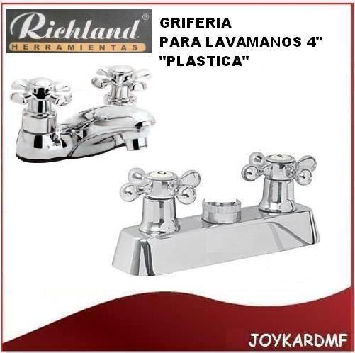 Llave griferia para lavamanos doble richlabd plastica 4 for Llaves para lavamanos