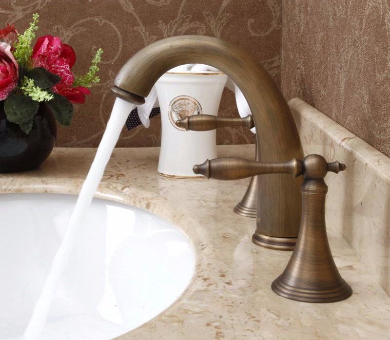 Llave grifo mezclador lavamanos acabado bronce antiguo for Precio de llaves para lavamanos