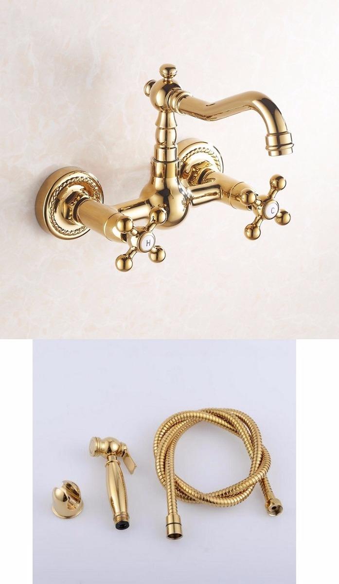Llave grifo mezcladora de pared acabado oro dorado pulido for Grifo dorado