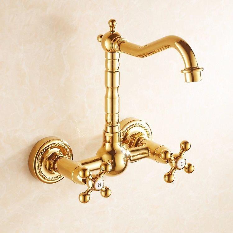 Llave grifo mezcladora de pared acabado oro dorado pulido for Llaves para shower