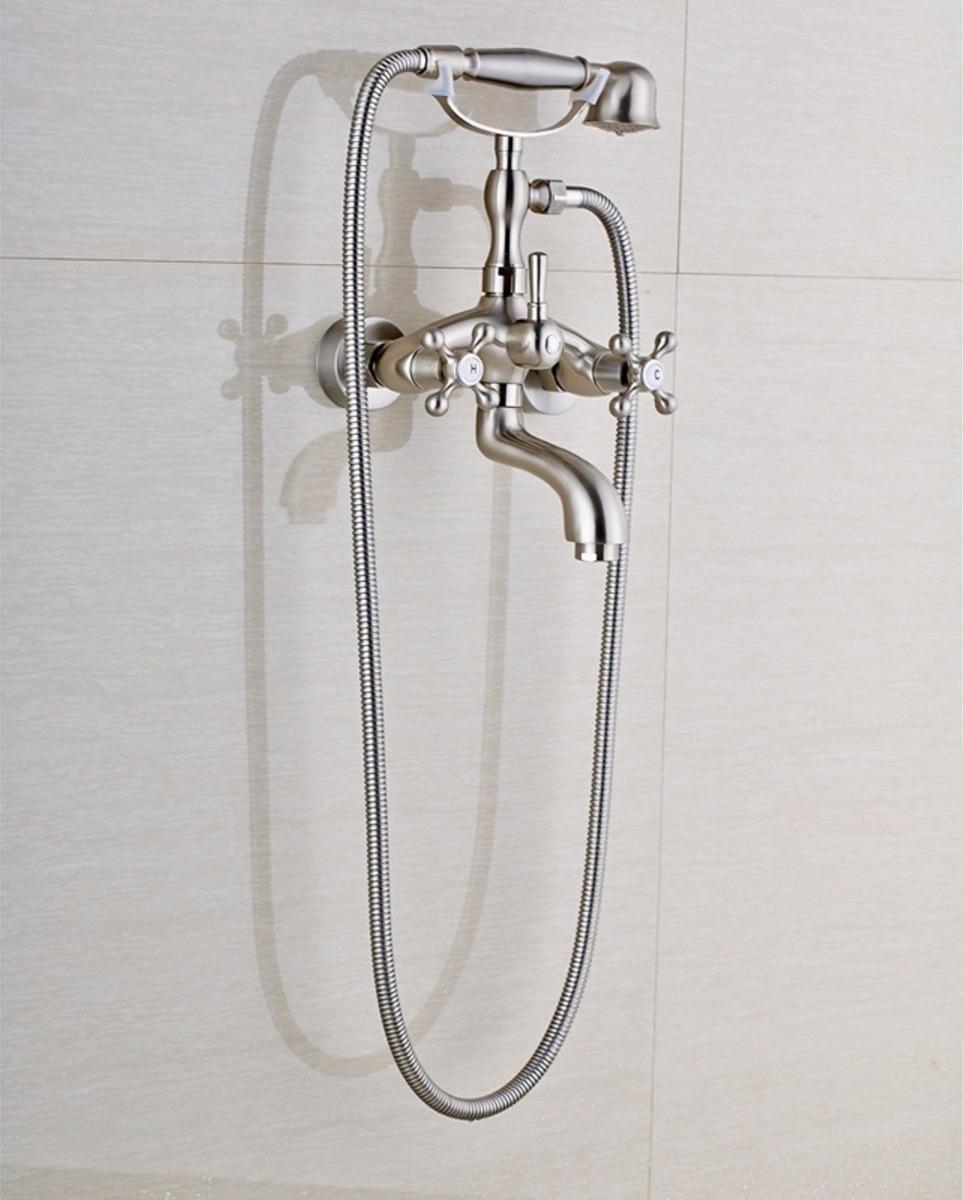 Llave grifo mezcladora de pared para ba era nickel for Llave de ducha pared