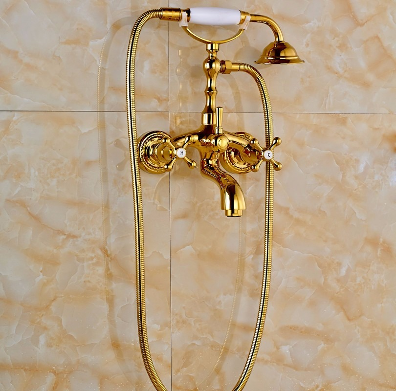 Llave grifo mezcladora de pared para ba era oro dorado for Grifo dorado
