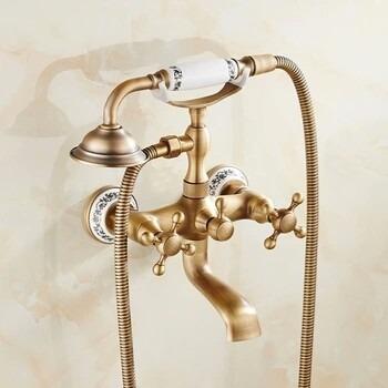 Llave grifo mezcladora de pared para ba era tina oro for Grifo dorado