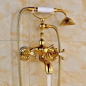 Llave grifo mezcladora de pared para ba era tina oro for Llaves de tina de bano