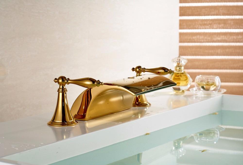 Llave grifo mezcladora lavamanos acabado oro dorado pulido for Grifo dorado