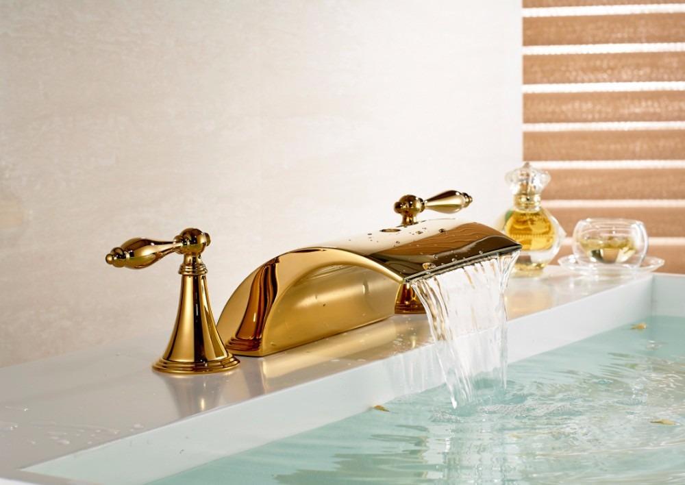 Llave grifo mezcladora lavamanos acabado oro dorado pulido for Llaves modernas para lavamanos