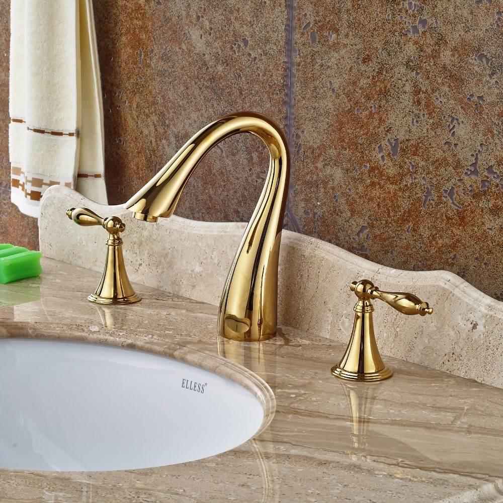 Llave grifo mezcladora lavamanos acabado oro dorado pulido for Precio llave lavamanos
