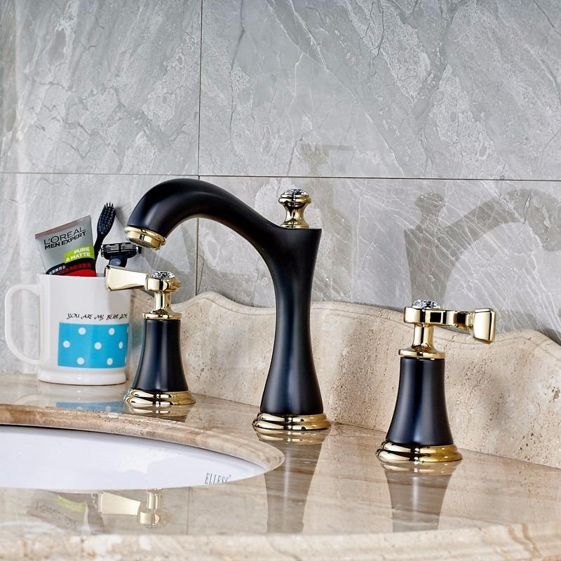Llave grifo mezcladora lavamanos lavabo acabado negro oro for Precio llave lavamanos