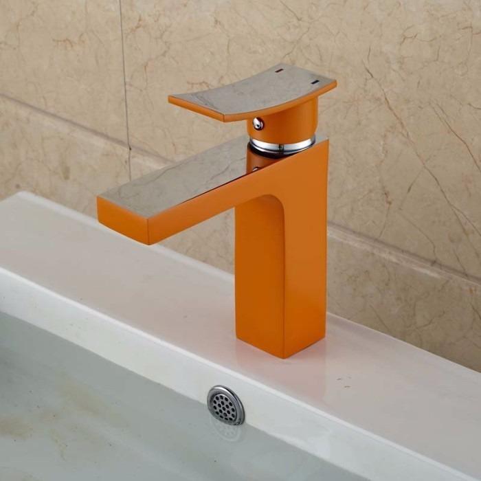 Llave grifo mezcladora lavamanos monomando nickel naranja - Grifos para lavamanos ...