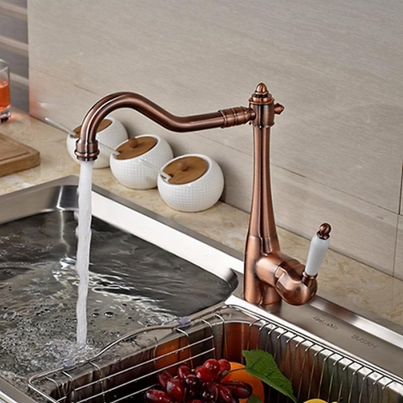 Llave grifo mezcladora monomando cocina acabado cobre for Llaves para cocina
