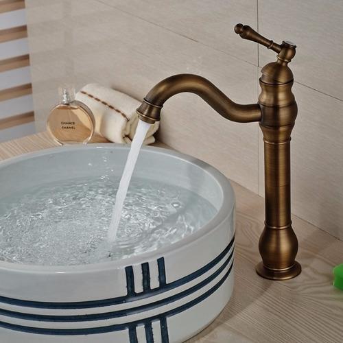Llave grifo mezcladora monomando lavamanos bronce antiguo for Llave monomando bano